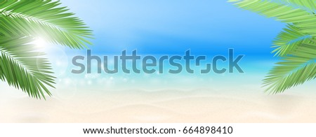 beach with palms vector