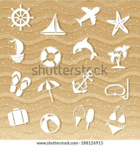 beach with sea icons  wave sand