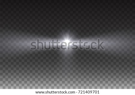 Beacon beam effect isolated on transparent background. Realistic white glow projector, headlight, spotlight, stage ray. Vector bright harbor lighthouse lights for your design.