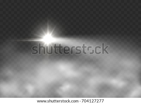 Beacon headlight effect in fog isolated on transparent background. Realistic white glow motorcycle or motorbike headlight in smoke. Vector bright lighthouse lights effect with mist for your design.