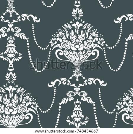 beads flowers vase damask vector elegant pattern