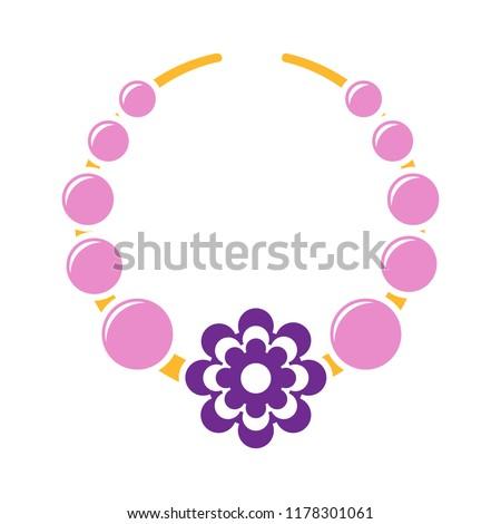 beads icon - vector necklace illustration, jewelry design. fashion symbol