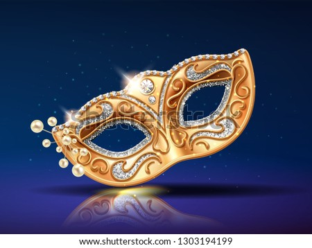 Beads near golden mask for festival. Beading near theatrical colombina masque. Face cover for party masquerade or brazil carnival. Man and woman costume part for mardi gras or opera. Fashion, holiday