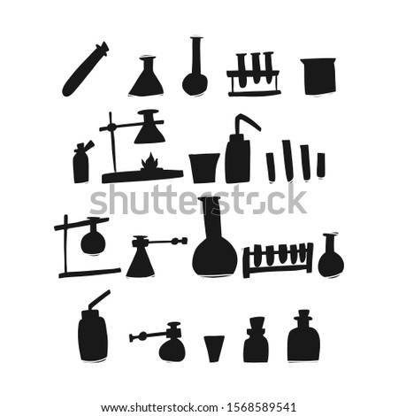 Beaker Chemistry test tube, sketch hand drawn. Variety devices for research laboratory chemical elements, conduct testing tests field progress science. Cartoon flat sketching