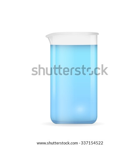 Beaker with pure blue water, crystal clear liquid solution, 3d vector object, eps 10