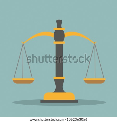 Beam balance and judges gavel on the green background. Eps 10 vector file.