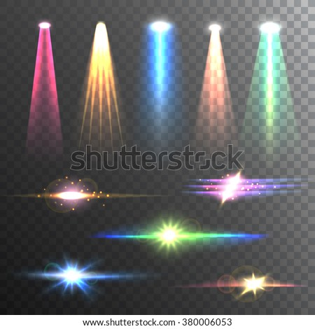 Beam lights of different color and shapes projections gleaming in the darkness composition banner abstract vector illustration