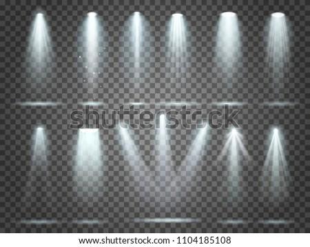 Beam of floodlight, space illuminators lights effects, stage illumination spotlight. Night club party floodlights on scene and white spotlights lighting interior vector realistic 3d set