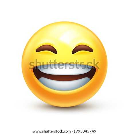 Beaming emoji with smiling eyes. Grinning emoticon with radiant smile. Full-toothed grin on happy yellow face 3D stylized vector icon Stock photo ©