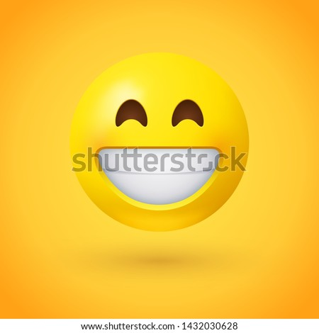 Beaming face emoji with smiling eyes and a broad, open smile with a full-toothed grin as if saying Cheese! for the camera