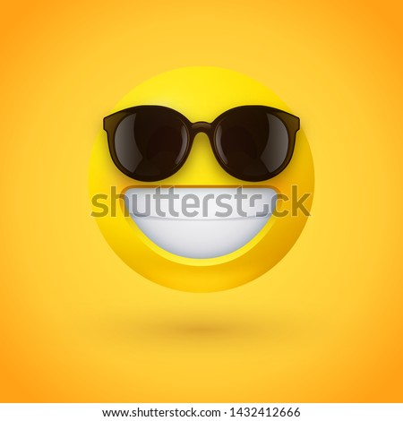 Beaming face emoji with sunglasses and a broad, open smile with a full-toothed grin as if saying Cheese! for the camera