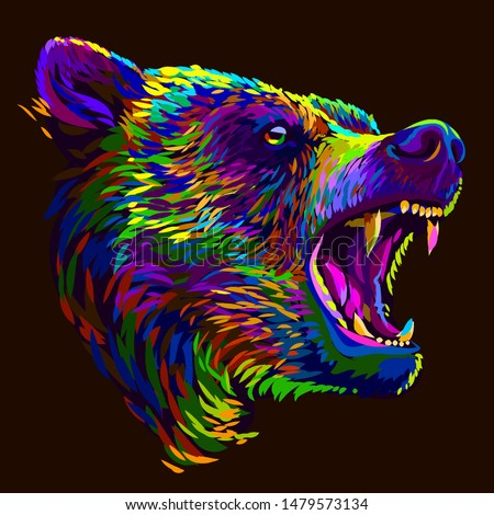 bear abstract multi colored