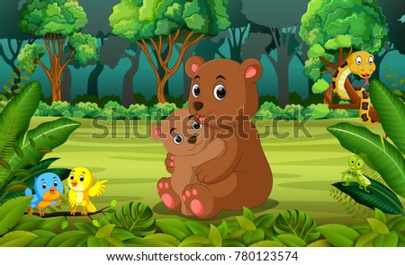 stock-vector-bear-and-baby-bear-in-the-forest