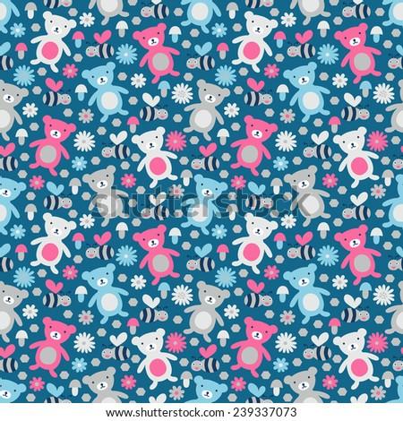 bear and bee seamless pattern....