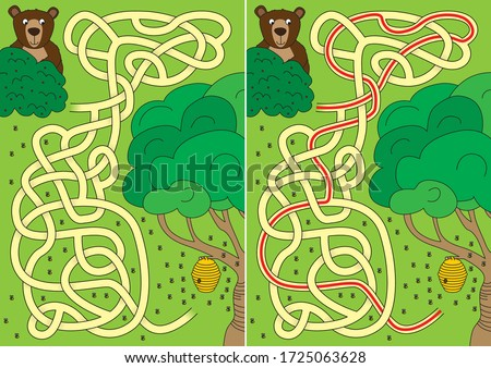 Bear and beehive maze for kids with a solution Foto d'archivio ©
