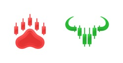 Bear and bull for buy and sell forex trading logo design template vector