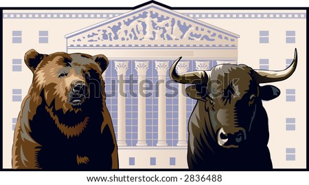 bear and bull in front of the