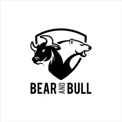 bear and bull trading logo template, animal vector and business finance modern design template inspiration