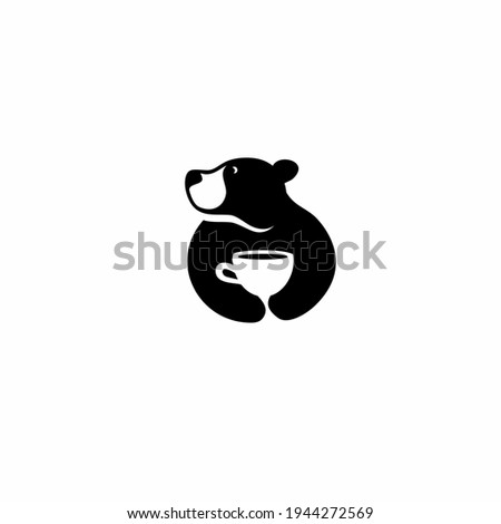bear and coffee icon logo in