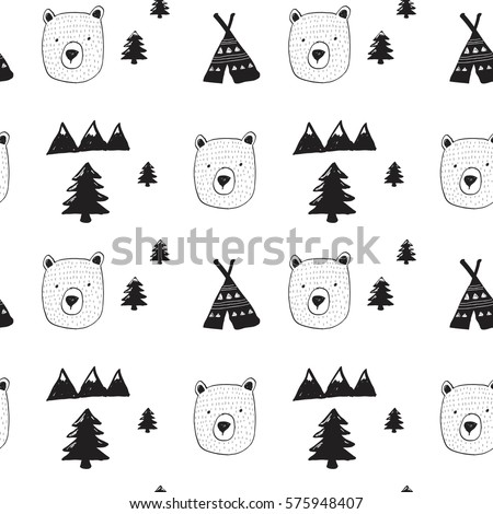 bear and forest pattern for