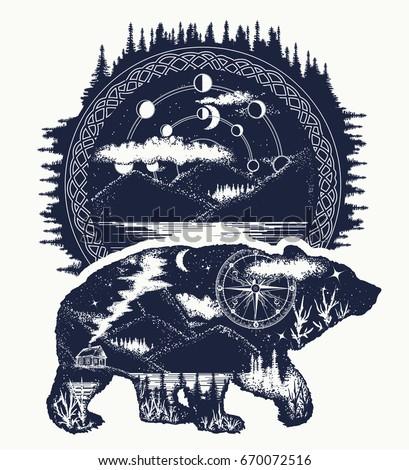 Bear and mountains tattoo art. Mountain, forest, night sky. Magic tribal bear double exposure animals