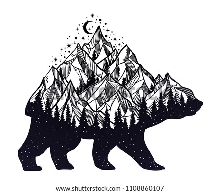 bear and night forest mountain