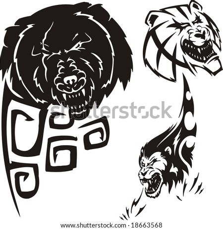 stock vector Bear anoplogaster and lion Tribal predators
