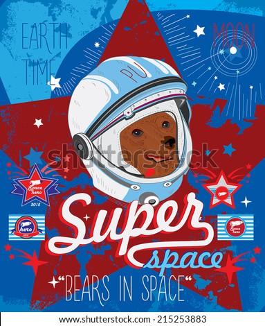 bear astronaut vector
