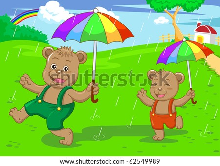 bear brother in raining day