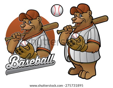 bear cartoon baseball player