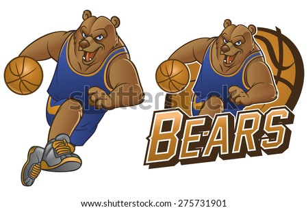 bear cartoon basketball mascot