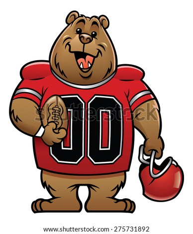 bear cartoon football mascot