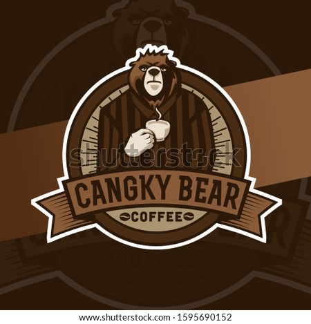 bear character mascot coffee