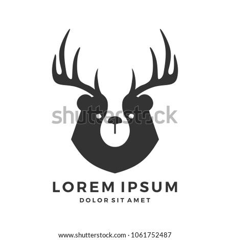 bear deer antler horn head
