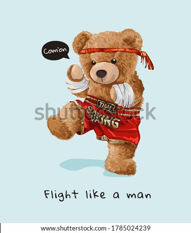 bear doll in Thai boxing athletic style illustration