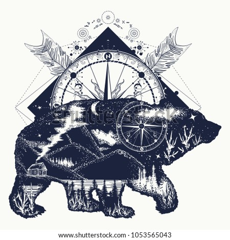 bear double exposure  compass