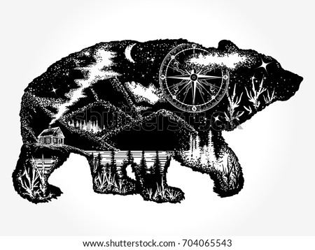 Bear double exposure tattoo art. Mountains, compass. Grizzly silhouette t-shirt design. Tourism symbol, adventure, great outdoor