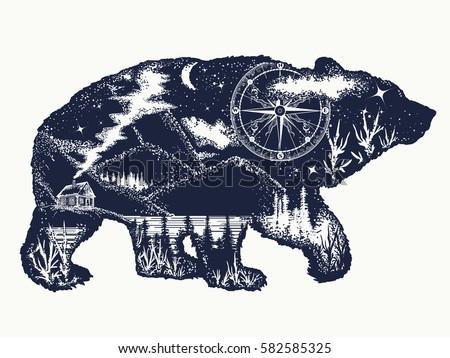 bear double exposure tattoo art