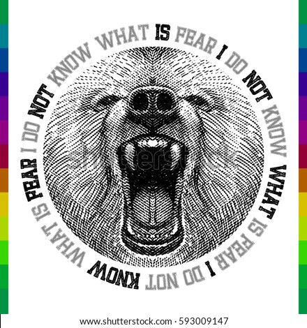 Bear face t-shirt print