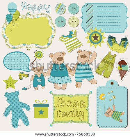 Bear Family Baby Scrap - big set of design elements