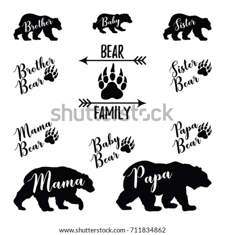 Bear Family bundle set.Papa,Mama,Baby,Brother,Sister bear lettering with paw and arrow.