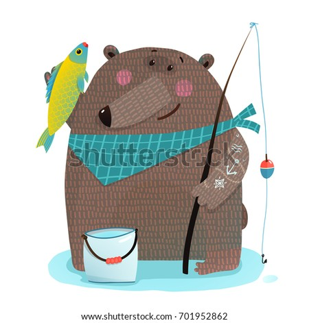 Bear fisherman with fishing rod catching fish. Animal wildlife cute childish bear fishing artistic drawing. Vector illustration.