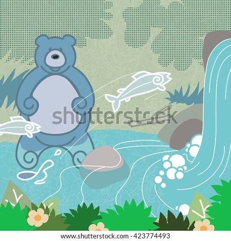 bear fishing an animated brown