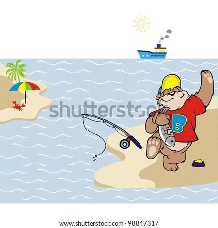 bear fishing in the sea