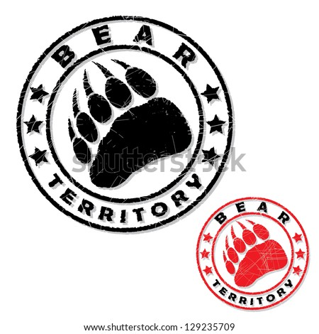 bear footprint stamp   vector