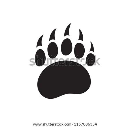Bear footprint vector isolated logo