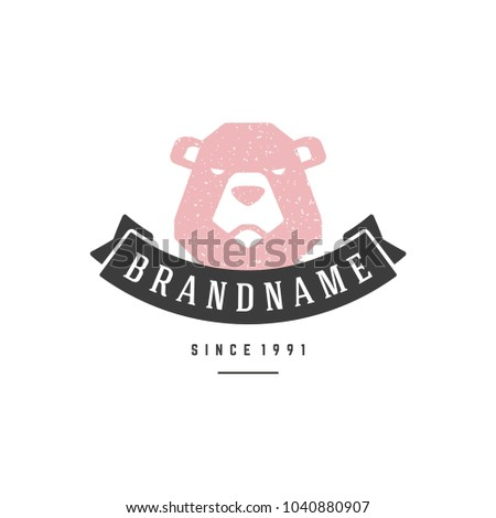 Bear hand drawn logo isolated on white background vector illustration for labels, badges, t-shirt and other design.