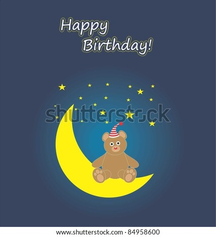 Bear happy birthday card