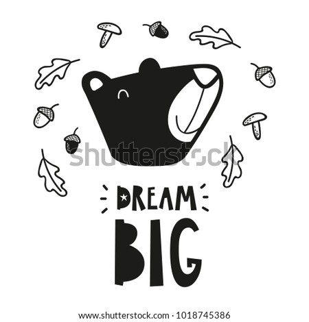 bear head poster for baby room