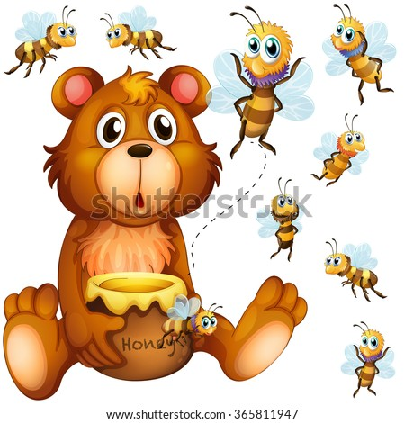 bear holding honey jar and bees